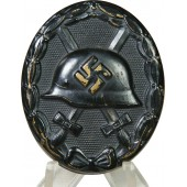 3rd Reich wound badge in black, black lacquer, brass.