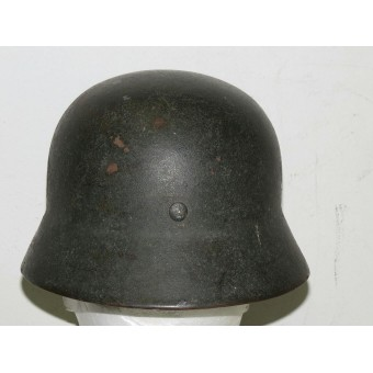 M 35 Wehrmacht Heer double decal helmet in field rough camo. Espenlaub militaria