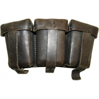 German Heer or Waffen SS, black leather ammo pouch. Espenlaub militaria