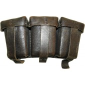 German Heer or Waffen SS, black leather ammo pouch