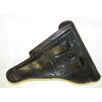 Black leather holster for P 08 Parabellum pistol.. Espenlaub militaria