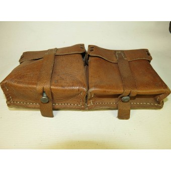 Brown leather ammo pouch for G 43 Walther magazine pouch ros 1944 marked. Espenlaub militaria
