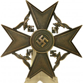 Spanish cross in bronze without swords by Steinhauer & Luck, marked L/16. Espenlaub militaria