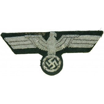 Wehrmacht Heer aluminum bullion hand embroidered breast eagle on felt. Espenlaub militaria