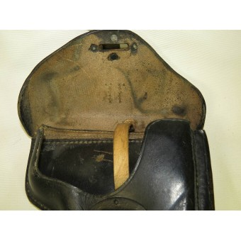 Wehrmacht Heer or Waffen SS P 38 Pistol, Walther system, leather holster. Black, hard shell, marked 1943. Espenlaub militaria