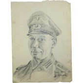 German Feldwebel, artwork by G. Stauch, the Wehrmacht war artist. Juni 1944, Eastern front. Original.