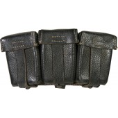 German K98 Gewehr black leather ammo pouch, Rb Nr marked, end war issue