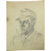 German soldiers trench artwork by Heeres war artist G. Stauch. 10.6.44 year. Original.