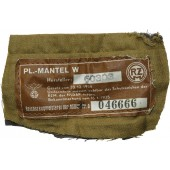 "NSDAP political leader overcoat's RZM label - "" Pl. Mantel"""