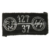 SS 127/37 RZM woven tag for insignia or uniforms by SS Reichsführer order