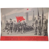 Propaganda postcard with Soviet Army parade in Tallinn, Estonia. 1946