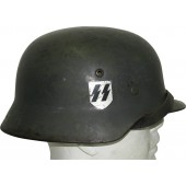 SS VT, SS TV, ET- 66 M 35 double decal SS steel helmet. VA-SS marked chinstrap