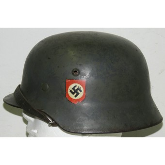 SS VT, SS TV, ET- 66 M 35 double decal SS steel helmet. VA-SS marked chinstrap. Espenlaub militaria