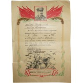 Certificate of Merit to the major of armored troops for capturing the city of Berlin