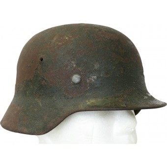 German m35 Wehrmacht Heer steel helmet. Battle damaged!. Espenlaub militaria