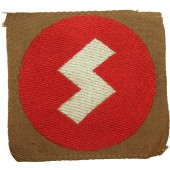 DJ member sleeve patch with the white rune on the red background