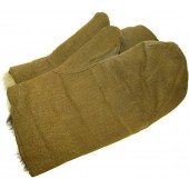 RKKA Soviet war time issue cold weather fur lined  mittens