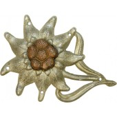 Early aluminum edelweiss badge for jager cap