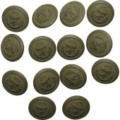 14 pcs, Kriegsmarine coastal artillery 21 mm zinc buttons, field grey painted, B&N marked.