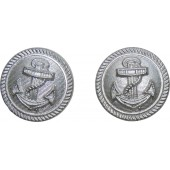 21mm Kriegsmarine buttons, silver painted for administration of Kriegsmarine
