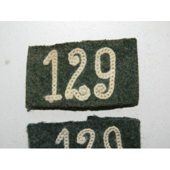M 40 Slip on slides for Wehrmacht 129 Regiments shoulder boards. Espenlaub militaria