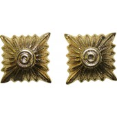 Rank pips - 14 mm for Wehrmacht or Waffen SS shoulder boards, gilded brass.