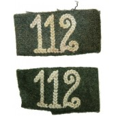 Wehrmacht 112 Infantry Regiment Slip-On Tabs for Shoulder Boards.