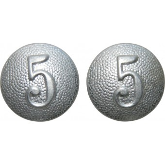 Wehrmacht Heer early buttons for shoulder straps  with company number 5. Espenlaub militaria