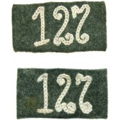 WWII German EM/NCO Shoulder strap slides for 127 Infantry regiment