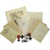 Set of Panzervernichtungsabzeichen and other awards with docs for Lieutenant Julius Hahn