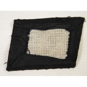 Waffen SS mid-war BeVo woven collar tab, uniform removed. Espenlaub militaria