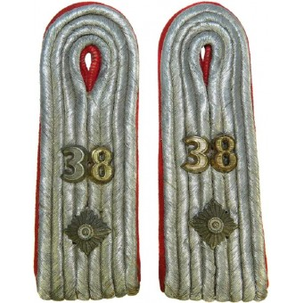 Wehrmacht Heer slip on Artillery shoulder boards for Oberleutnant in 38 Artillerie Regiment. Espenlaub militaria