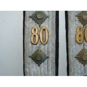 Slip-on shoulder boards for Wehrmacht Hauptman in 80th Pioneer battalion. Espenlaub militaria