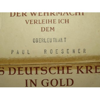 The German Cross in Gold Award Certificate. Espenlaub militaria