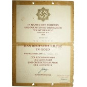 The German Cross in Gold Award Certificate