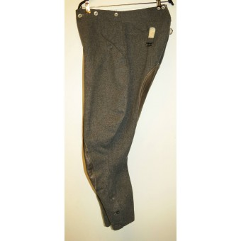 Wehrmacht Heer or SS М36 breeches with leather reinforcement,  Steingrau. Espenlaub militaria