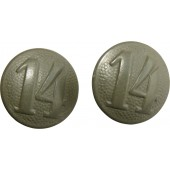 "Shoulder straps buttons with the unit number ""14"" for the HJ jacket or Wehrmacht uniform."
