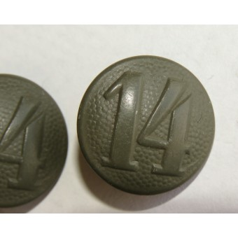 Shoulder straps buttons with the unit number 14 for the HJ jacket or Wehrmacht uniform.. Espenlaub militaria