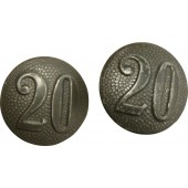 "Shoulder straps buttons with the unit number ""20"" for the Hitler Youth jacket or Wehrmacht uniform."