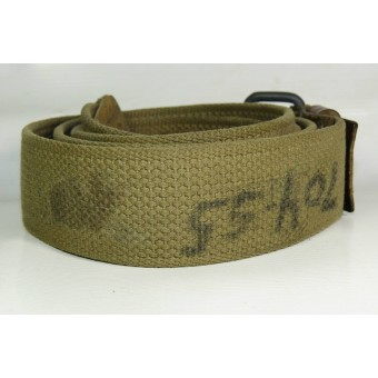 Canvas / leather enlisted man belt., 115 cm.. Espenlaub militaria