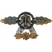 Squadron Clasp for Fighter Pilots, Gold with star-hanger, zinc gilded