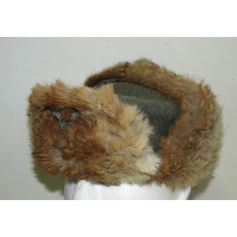 Wehrmacht winter fur hat with sewn-in insignia.