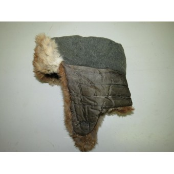 Wehrmacht winter fur hat with sewn-in insignia.. Espenlaub militaria