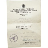 Award certificate to Iron cross 1939, SS-Panzer-Korps stamps.