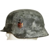 Wehrmacht M 35 ET 66 double decal camo helmet