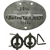 6kp Ln Ers Lg. N. Rgt.11 Italians in Luftwaffe dog tag