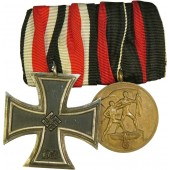 Iron Cross second class 1939 by W. Deumer in Ludenscheid and Sudetenland Medal medal bar