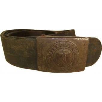 Wehrmacht army steel buckle and belt- Haarmann Ludenscheid. Espenlaub militaria
