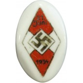 21 June 1934 HJ pin. German Hitler Youth Sport Participation Pin