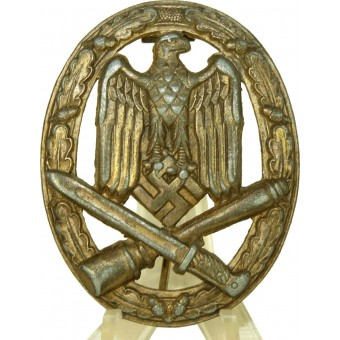 General assault badge with solid silvering, hollow.. Espenlaub militaria